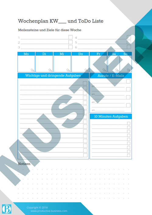 Zeitmanagement-Vorlagen Download - To-Do Listen für Monat, Woche, Tag